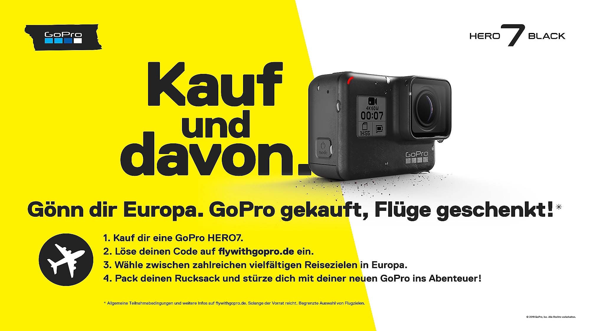 An ad for GoPro Germany displaying a free adventure trip sales promotion