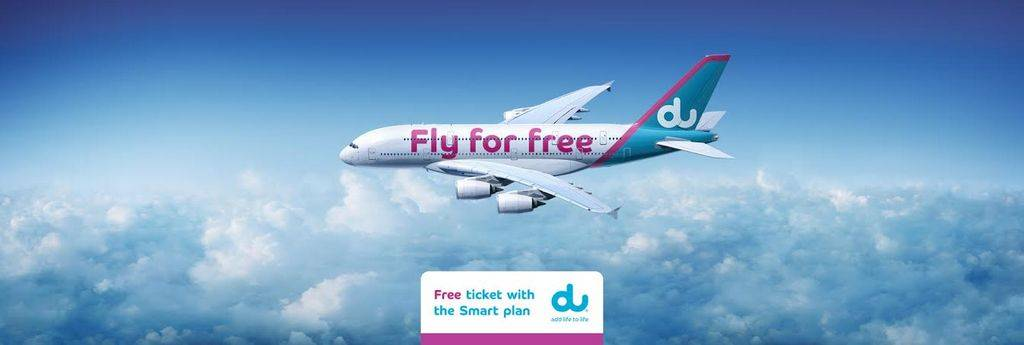 Two airplane tickets for free flights branded by du Telecom