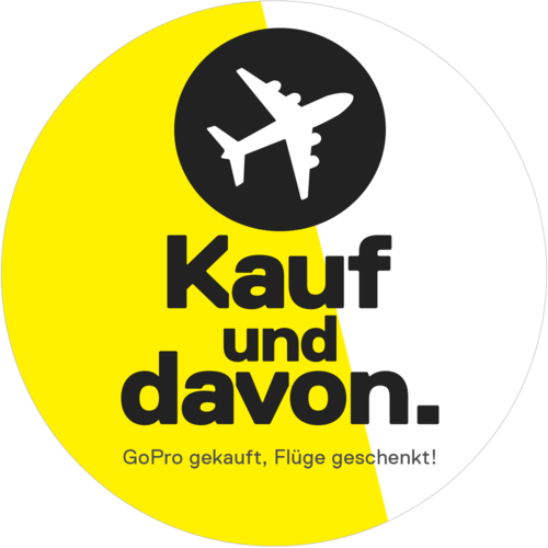 White and yellow sticker as a teaser for a GoPro free flight promotion
