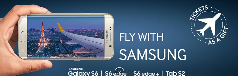 """A hand holding the Samsung Galaxy S6 next to a headline that says """"Fly with Samsung"""" and a teaser """"Tickets as a gift"""""""