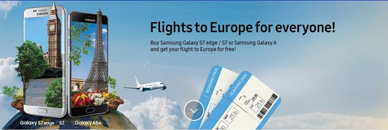 """A website banner for the Samsung Galaxy S7 launch displaying flight tickets and the text """"Flights to Europe for everyone"""""""